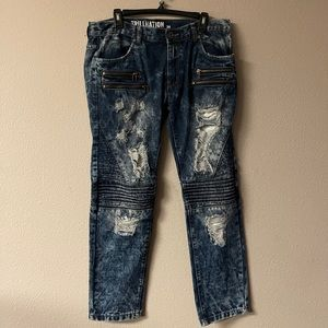 Trillnation - slim straight leg distressed jeans